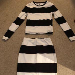 Long sleeve shirt and pencil skirt